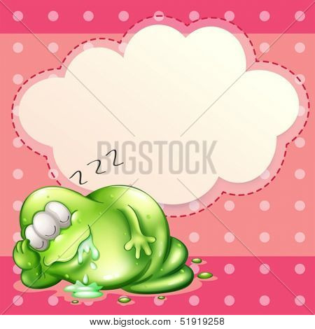 Illustration of a monster sleeping and salivating with an empty cloud template at the back
