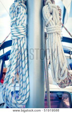 Ropes On Mast, Sailing Boat