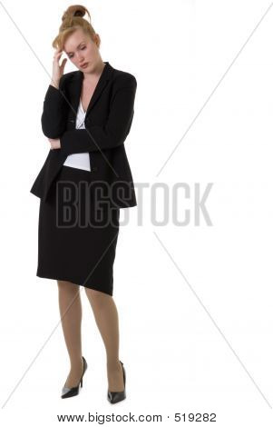 attractive business woman with hand on head thinking poster