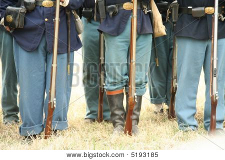 Union Civil War Soilders, Muskets, Belt Buckles