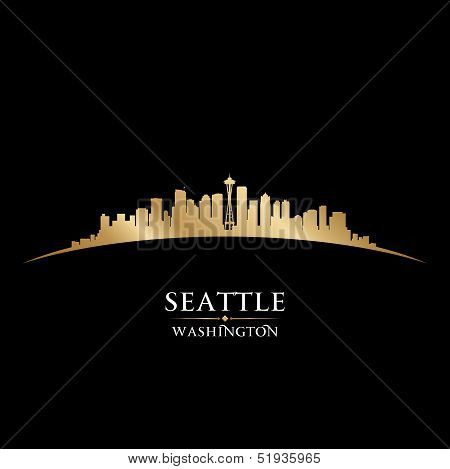 Seattle Washington City Skyline Silhouette Black Background