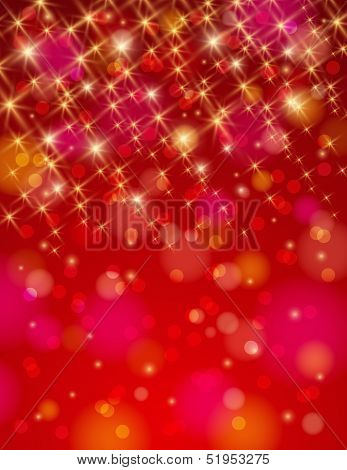 Christmas Red Background With Brilliance Stars