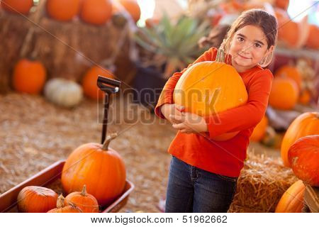 Cute Girl Choosing A Pumpkin at A Pumpkin Patch One Fall Day.