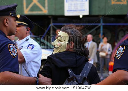 Guy Fawkes mask wearer arrested by NYPD