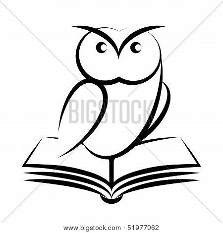 Cartoon of owl and book - symbol of wisdom isolated on white background poster