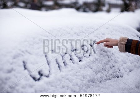 Winter Written In Snow On Car