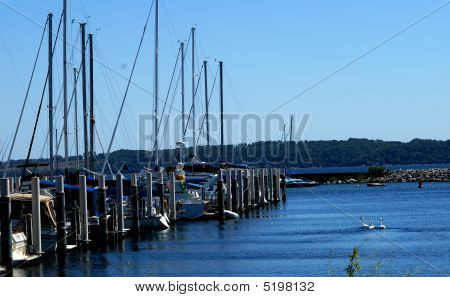 Sail boats docked