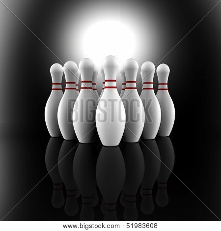 Bowling Pins Showing Skittles Alley