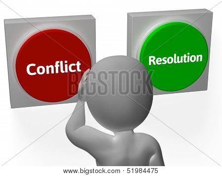 Conflito de resolução botões Mostrar lutando ou arbitragem