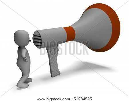 Loud Hailer Character Shows Announcing Explaining And Megaphone