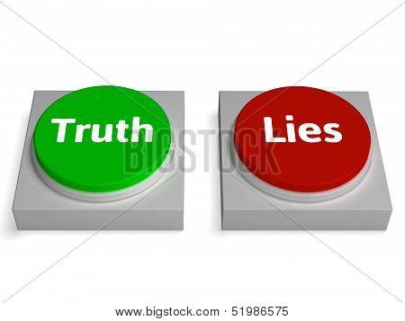 Truth Lies Buttons Show True Or Liar