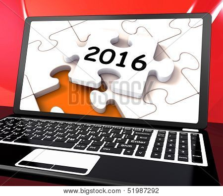 Two Thousand And Sixteen On Laptop Shows New Years Resolution 2016