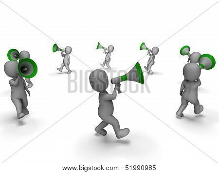 Characters With Loud Hailers Shows Announcing Information Or Shouting