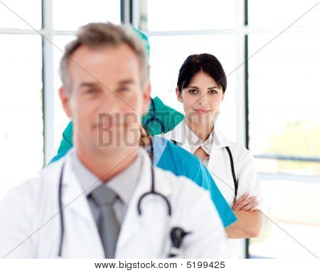 Attractive Confident Doctor In A Line
