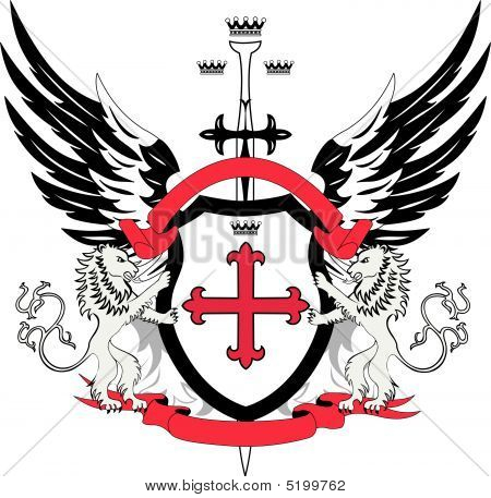 Heraldic Shield With Cross Flory And Sword