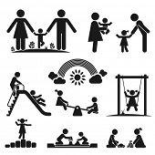Children play on playground. Pictogram icon set poster