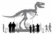 Illustrated silhouettes of people looking at a Tyrannosaurus rex skeleton in a museum poster