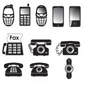 Collection of vector old and new phone icons poster
