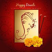 beautiful happy diwali design with lord ganesha poster