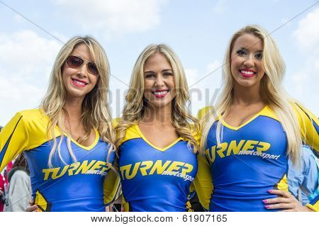 Sebring, FL - Mar 15, 2014:  The Turner Motorsports models pose for pictures before the start of the 12 Hours of Sebring at Sebring International Raceway in Sebring, FL.