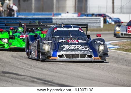Sebring, FL - Mar 15, 2014:  The Michael Shank Ford EcoBoost Need For Speed car races through the turns at the 12 Hours of Sebring at Sebring International Raceway in Sebring, FL.