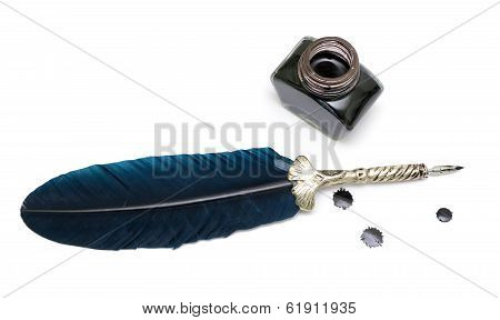 Pen And Inkwell Isolated On A White Background