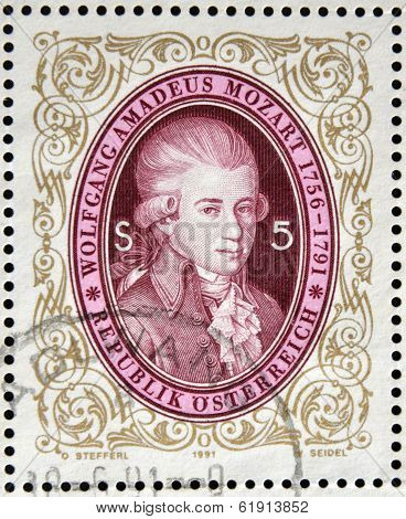AUSTRIA - CIRCA 1991: stamp printed in Austria shows Wolfgang Amadeus Mozart circa 1991