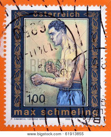 AUSTRIA - CIRCA 2005: A stamp printed in Austria shows Max Schmeling
