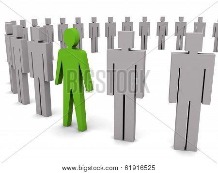 Unique Person In Row.