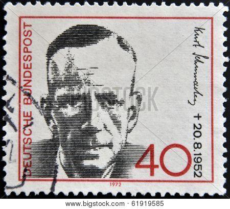 GERMANY - CIRCA 1972: a stamp printed in Germany shows Kurt Schumacher Politician circa 1972
