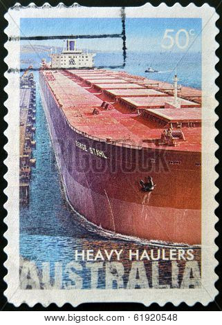 AUSTRALIA - CIRCA 2008 : a stamp printed in Australia shows heavy haulers machiners circa 2008