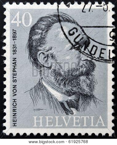 SWITZERLAND - CIRCA 1974: stamp printed in Switzerland shows Heinrich von Stephan circa 1974