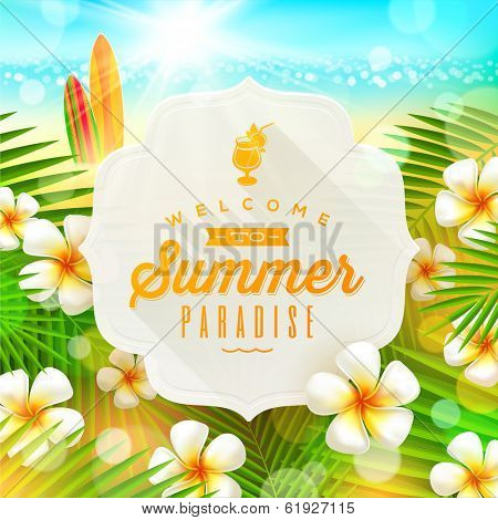 Banner with summer greeting and frangipani flowers against a  tropical  shore seascape with surfboards  - vector illustration
