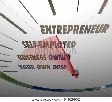 Entrepreneur Word Speedometer Self Employed Business Owner