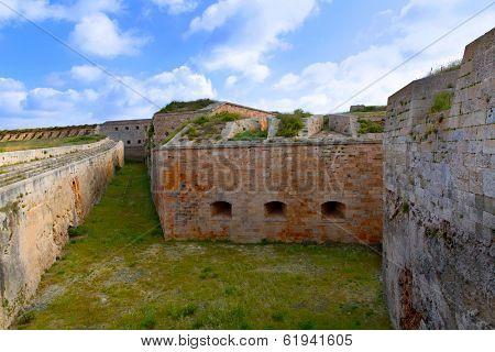 Menorca La Mola Castle fortress wall in Mahon at Balearic islands