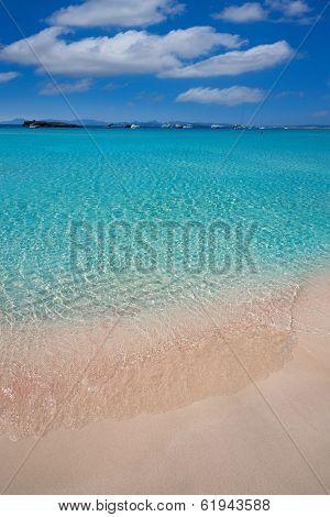 Illetes Illetas turquoise beach in Formentera Balearic Island