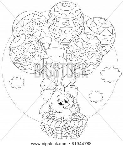 Easter Chick flies with balloons