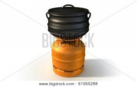 Gas Burner With Potjie Pot