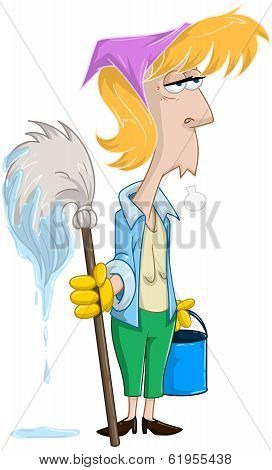 Tired Woman With Mop And Bucket