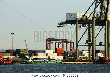 Loading Container At Port, Maritime Transport
