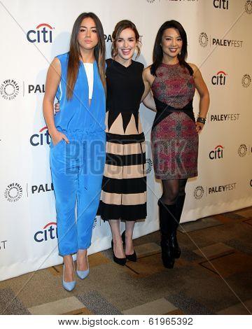LOS ANGELES - MAR 23:  Chloe Bennet, Elizabeth Henstridge, Ming-Na Wen at the PaleyFEST 2014 -