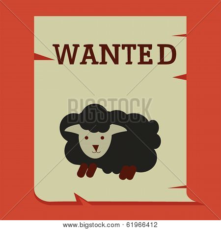Black sheep on wanted paper business conceptual poster