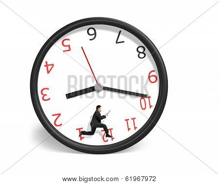 Businessman Running Inside Clock