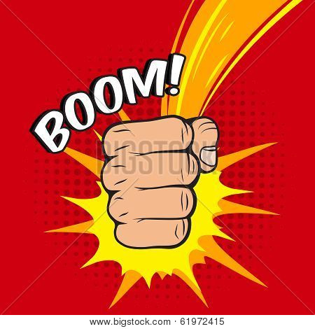 Clenched power fist boom pow abstract hit vector illustration poster