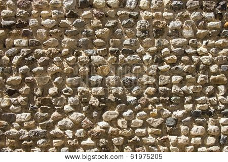 Rough, Highly Textured Old Stone Block Wall From Greece