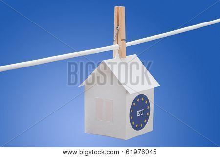 eu flag on paper house