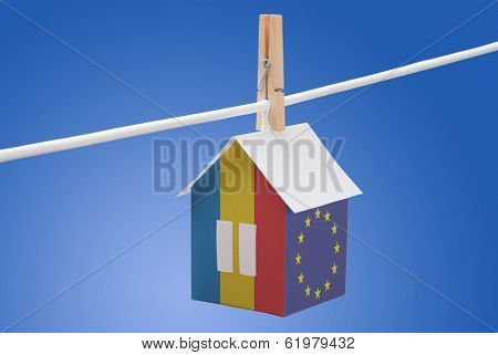 Romania, Romanian and EU flag on paper house