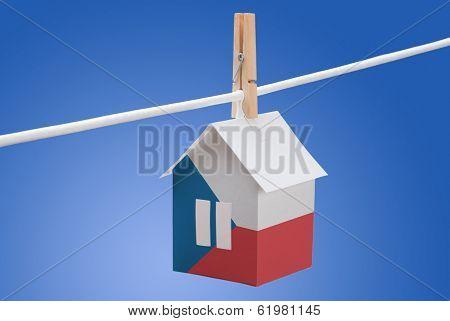 Czech flag on paper house