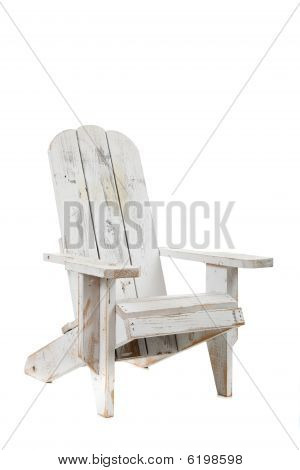 White Adirondack Chair On A White Background