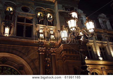 Hotel de Ville in Paris France at night
